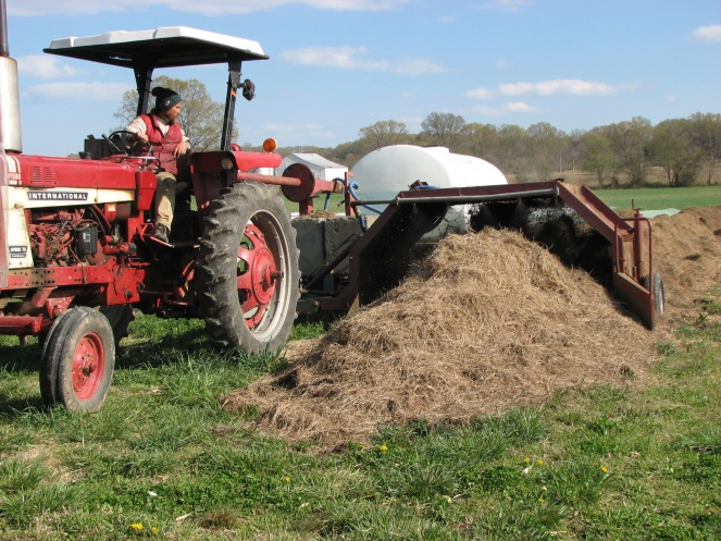 Our compost turner allows us to maintain aerobic conditions to facilitate a healthy breakdown process, and also to inject water as needed.